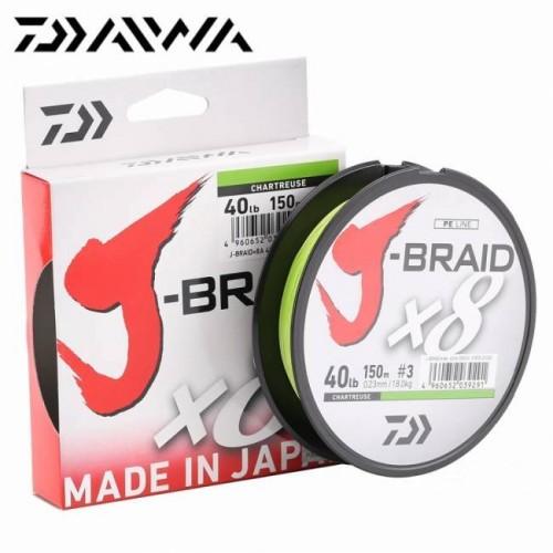 Daiwa J-Braid X8 150m chart. fonott zsinór több méretben