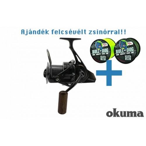 OKUMA 8K FD 5+1bb nagyhalas távdobó orsó + ajándék BULLDOG főzsinór(1000m) felcsévélve